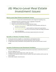 6 Macro-Level Real Estate Investment Issues.docx