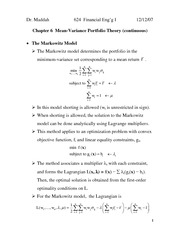 Lecture 1 on Mean-Variance Portfolio Theory (2) (Chapter 6, text)