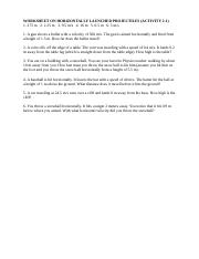 Worksheet On Horizontally Launched Projectiles 3 Worksheet On