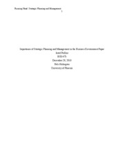 importance of strategic planning and management in the business environment paper