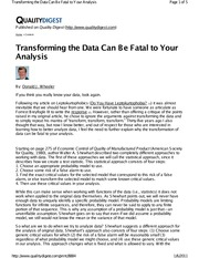Article - (3) Wheeler - Transforming Data Can be Fatal to you Analysis