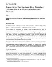 EXPERIMENT2-Error Analysis-HeatCapacity-RecoveringProduct-Manual-Spring2017