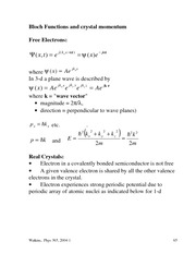 Physics 365 Bloch Function and Crystal Momentum Notes
