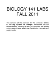 Biology 141 Labs - Unit 1 and 2 modules - Fall 2011 3