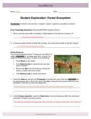 Bio 2 Forest Ecosystem Worksheet - Student Exploration ...