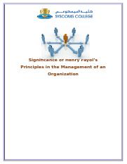 Significance of Henry Fayol's Principles in the Management of an Organization 2
