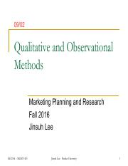 Session 6 - Qualitative and Observational Methods