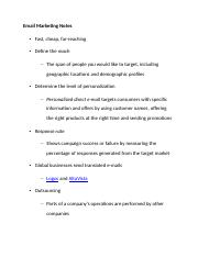 Email Marketing Notes