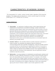 CHARACTERISTICS  OF MODERN  SCIENCE.docx