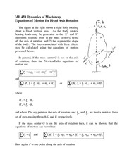 Equations of Motion for Fixed Axis Rotation Review