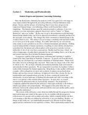 Divinity 388_Lectures Notes on Post-Modern Theory