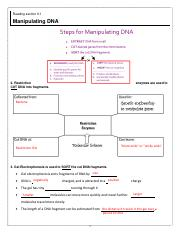 notes key- manipulating dna and pcr. sections 9.1-9.2