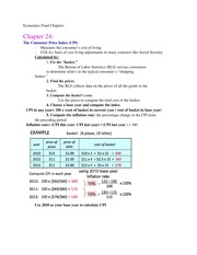 Chapters 24 and 30th- CPI, Money Supply Notes