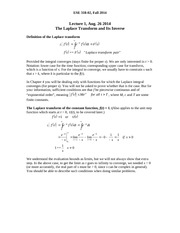 Lecture 1 - Laplace Transform and Inverse(2)