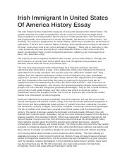 Irish Immigrant In United States Of America History Essay.docx