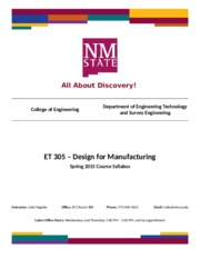 ET 305 Syllabus - Design for Manufacturing - Spring 2015