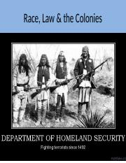 Race, Law &  the Colonies