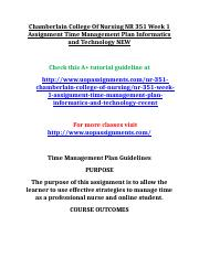 Chamberlain College Of Nursing NR 351 Week 1 Assignment Time Management Plan Informatics and Technol