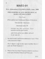 (www.entrance-exam.net)-VMOU M.A. in Education Philosophical and Sociological Bases of Education Sam