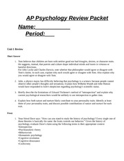 AP Psychology Review Packet