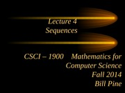 Lecture 4 - Sequences