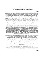 Belief #10 The Experience of Salvation