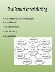 Trial Exam of critical thinking