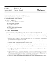 Computer Science 188 - Spring 1993 - Russell - Midterm 1