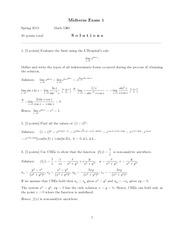 Midterm Exam A Solutions on Complex Variables and Applications