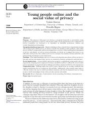 Steeves and Regan - Young People Online and the Social Value of Privacy