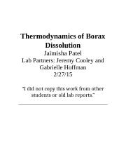 thermodynamics of the dissolution borax Thermodynamics and the solubility of sodium tetraborate decahydrate in  associated with the dissolution of this salt.