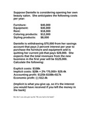 Danielle Cost Profit Example