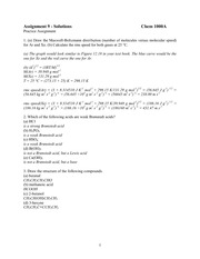 CHEM 1000A Fall 2002 Assignment 9 Solutions