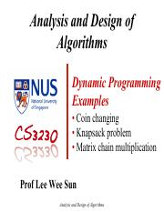 8DP_Examples - Analysis and Design of Algorithms Dynamic