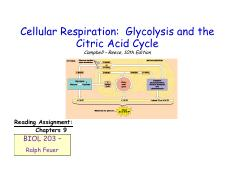 Lecture #10 - Cell Respiration - Glycolysis and The Citric Acid Cycle