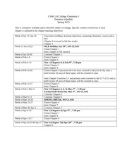 CHM 110 class schedule spring 2015