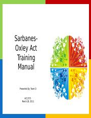 sarbanes oxley act law 421 Law 421 week 4 sarbanes-oxley act paper buy solutions: law 421 week 4 sarbanes-oxley act paper write a 700- to 1,050-word paper.