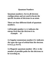quantum number notes