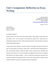 Unit 3 Assignment 2 Reflection Essay Writing