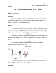 Lab212 - Measurements of e-m for an Electron