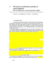 Camerer Johnson 1991 The process-performance paradox in expert judgment