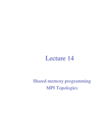 Lec14 Shared memory programming