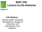 Lecture 6 Life History