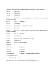 BUSN 119  WINTER 2014 SCHEDULE