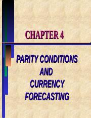 PARITY CONDITIONS AND CURRENCY FORECASTING