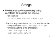 Supplmental Notes - Strings in C