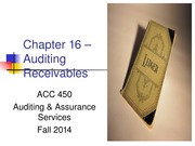 ACC 450 21 Auditing Accounts Receivables Fall 14 (1)