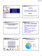 P11B+Slides+2--Learning--Classical+conditioning