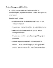 Project Management Office Notes