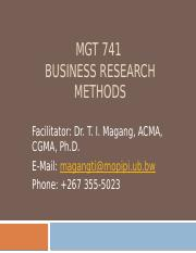 MGT 741 What is Reserch 2014 Lecture 1(1)
